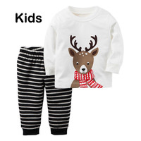 New Christmas Kids Baby Boys Girls Reindeer Nightwear Sleepwear Pajamas set 1-7Y