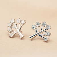 Sweet exquisite wishing tree zircon  925 sterling silver earrings,a personalized gift