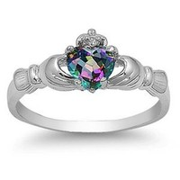 9MM 2ctw Sterling Silver FIRE Rainbow Topaz Mystic HEART Royal Claddagh Irish Ring-SIZE 4-10