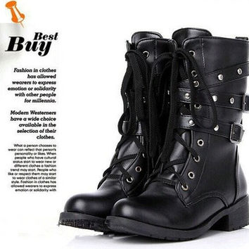 Women Motorcycle Boots Fashion Winter Ladies Vintage Combat Army Punk Goth Ankle Shoes Women Biker PU Leather Short Boots [8238487367]
