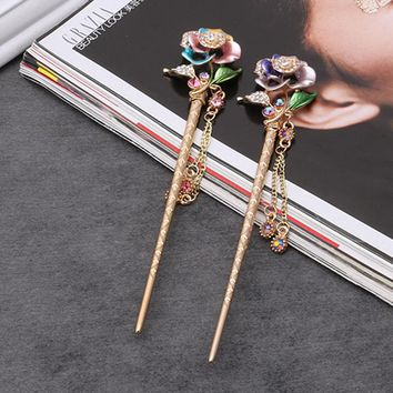 Chinese Traditional Hair Stick Women Handmade Metal Rhinestone Hairpin Fashion Classic Vintage Hair Accessories Tiara haarspeld