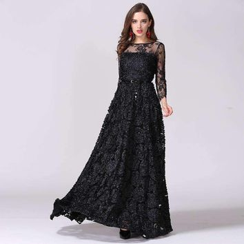 2016 Europe and USA Catwalk Hot Vintage Black Hollow Lace Perspective Stereo Disk Flower Princess Dress Sexy Long Maxi Dress