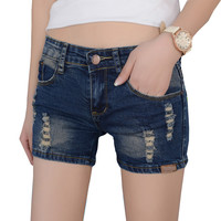 2016 New Low Waist Vintage Women's Jeans Shorts Summer Style Frazzle Denim Shorts Washes Beach Hot Shorts 26 - 32, CB025