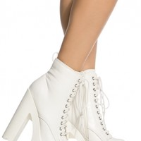 White Faux Leather Lace Up Lug Sole Booties @ Cicihot. Booties spell style, so if you want to show what you're made of, pick up a pair. Have fun experimenting with all we have to offer!