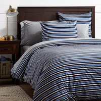 Stockholm Stripe Duvet Cover + Sham, Brigh Blue