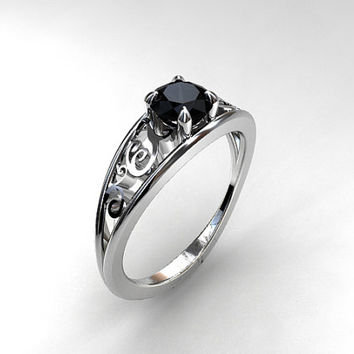 Black spinel ring, engagement ring, white gold, filigree engagement, black wedding ring, gothic, vintage style, black , spinel engagement