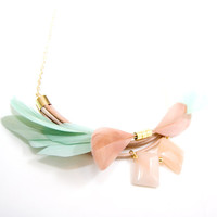 Bib Necklace - Statement Flower Bloom Feather Necklace - Mint and Salmon Spring Fashion - Feather Bouquet
