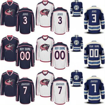 Columbus Blue Jackets Custom Jersey Men's 3 Seth Jones 7 Jack Johnson 13 Cam Atkinson 65 Markus Nutivaara 100% Stitched Hockey Jerseys