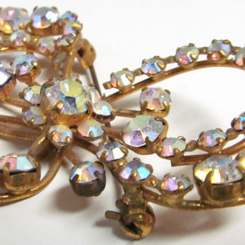 Vintage Rhinestone Bow Brooch Marked Made in Austria Aurora Borealis Stones Gold Tone