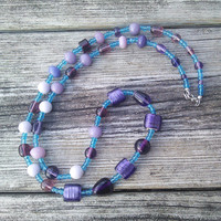 Long Purple Necklace, Purple Glass Necklace, Long Gypsy necklace, Statement Jewelry, Hippie Necklace, Blown Glass Beads, Gifts for Teens