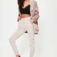 Missguided - Nude Distressed Joggers