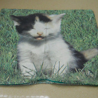 Square Cat Pillowcase Large Zippered Vintage 80s