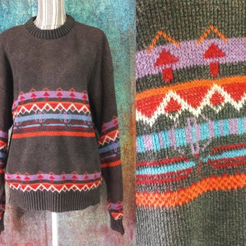 90s Aztec Sweater Geometric Tribal Print Jumper Knit Vintage Crewneck Boyfriend Pullover 80s Oversized Southwestern Winter Nordic Holiday