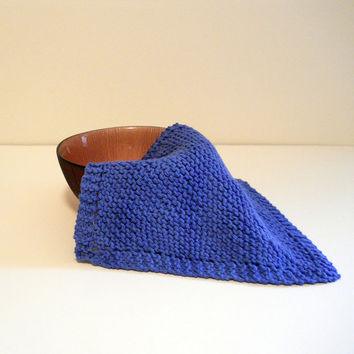 Blue Hand Knit Cotton Dishcloth, Washcloth, 9 inch square