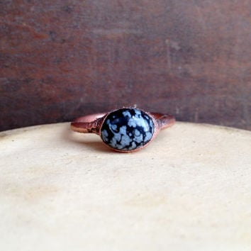 Snowflake Obsidian Ring - Tiny Ring - Raw Stone Ring - Copper Ring - Semiprecious Stone Ring - SIZE 8