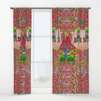 lady panda in the enchanted forest with magic flowers Window Curtains by Pepita Selles