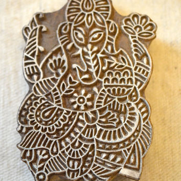 Ganesh elephant stamp finely carved traditional Indian Henna carved wood block