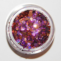 Solvent Resistant Glitter Mix: Purple and Gold  Sparkle Mix 5 GRAM JAR. Raw Glitter Mix for Nail Polish and Nail Art