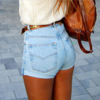 High Rise Sexy Slim Denim Pants Shorts [4920476804]