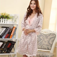 Sexy Women Pajama Set Faux Long Silk Robes Sleepwear Nightgown For Women SM6