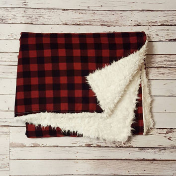 Northwoods Baby Buffalo Plaid Baby Blanket // Buffalo Check Flannel // White Shag Minky // Machine Washable // Additional Sizes Available!