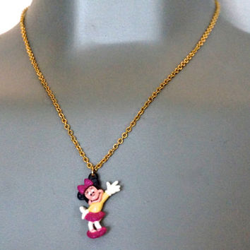 "Vintage Minnie Mouse Charm,Minnie Mouse Pendant with 16"" Chain,Vintage Pendant Necklace,Vintage Disney Cartoon Necklace,Novelty Jewelry"