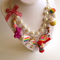 Statement Necklace Kawaii Rainbow Candy Shop Necklace Dessert Necklace Rainbow Cake Gumball Machine Unicorn Couture Necklace