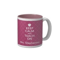 Personalized Teacher Keep Calm and Teach On Pink Two-Tone Mug