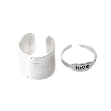 Love and Tube Band Adjustable Toe Ring Set of 2