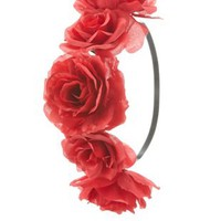 Red Oversized Rose Flower Crown by Charlotte Russe