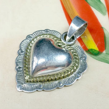 Vintage Taxco Mexico Silver Puffy Heart Pendant 925 Sterling with Brass Accent Scalloped Stylized Large Bale To Accommodate Thick Chain