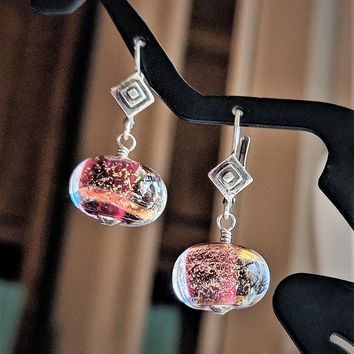 Unique Artisan Sterling Silver Coppery Pink Lampwork Glass Drop Earrings
