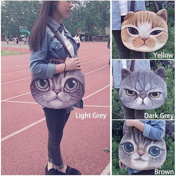 New Funny big cat printed shoulder bags cute animals beach bag portable travel bag = 1929883460