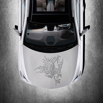 ANIMAL EAGLE BIRD WINGS DESIGN HOOD CAR VINYL STICKER ART DECALS MURALS SV1491