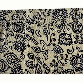 Black Block Print kantha quilt Pheseley  kantha guddri Decor quilt Handmade bed sheet Home decor kantha blanket picnic throw