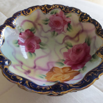 Pair of Japanese Handpainted Bowls with Roses - Sugar Bowls, Candy Dish, Floral China