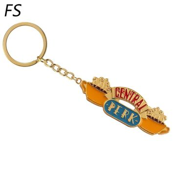 2 Styles TV Show Friends Central Perk Coffee Time Keychain Metal Enamel Gold Chain Key Chain Best Friend Christmas Gift Jewelry