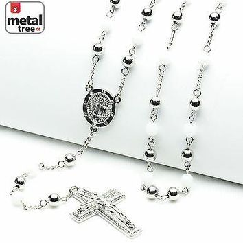 "Jewelry Kay style NEW 6 mm Silver White Bead Guadalupe Jesus Cross 28"" Rosary Necklace HR 600 SSWH"