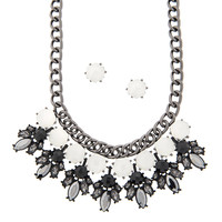 White, Black and Hematite Crystal Bold Statement Necklace and Stud Earrings Set