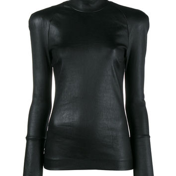 Haider Ackermann Black Leather Turtleneck Long Sleeve Top - Farfetch