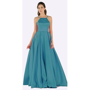 bbee8b71826 Jade Long Satin Prom Dress Halter Spaghetti Strap with Pockets