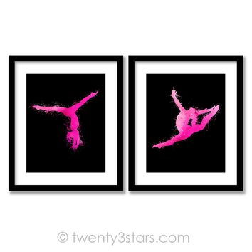 Watercolor Gymnast Wall Art - Choose Any Colors - twenty3stars