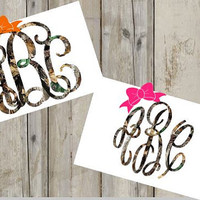 Camo Monogram with Bow - Vinyl Decal - Custom Decal - Southern - Camouflage - Choose your size, Colors, & Monogram Font!