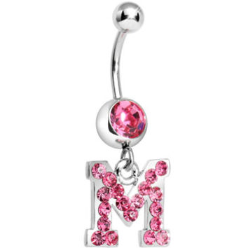 Pink Gem Letter M Initial Dangle Belly Ring | Body Candy Body Jewelry