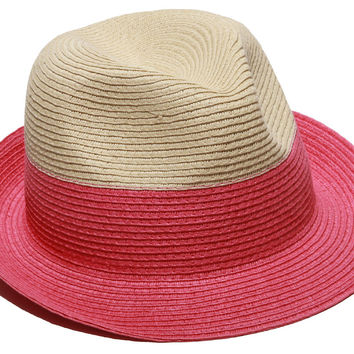 Jackie Straw Fedora, Natural/Pink, Hats