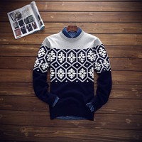 Mens Ethnic Style Warm Winter Slim Fit Knitwear Sweater