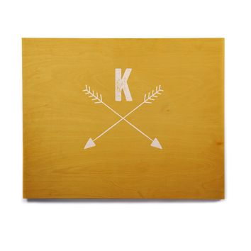 "KESS Original ""Golden Arrow Monogram"" Birchwood Wall Art"