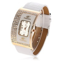 Exquisite Leather Band Quartz Watch with Crystal Rhinestones for Girl