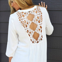 The Mallory Off White Lace Back Quarter Sleeve Blouse