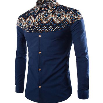 Casual Turn Down Collar Patchwork Printed Men Shirt